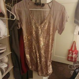 Gold Miss Me Sequin T-shirt